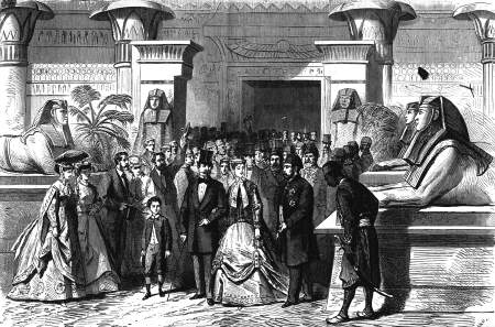 Wizyta francuskiej pary cesarskiej w pawilonie egipskim.