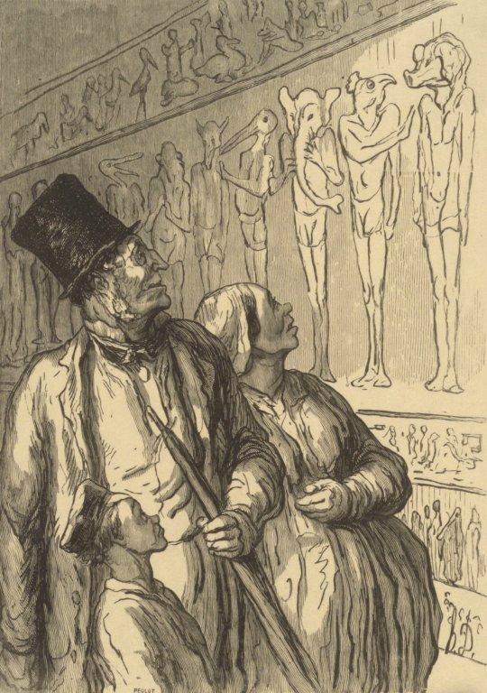 Zwiedzający w pawilonie egipskim, rys. Honore Daumier.