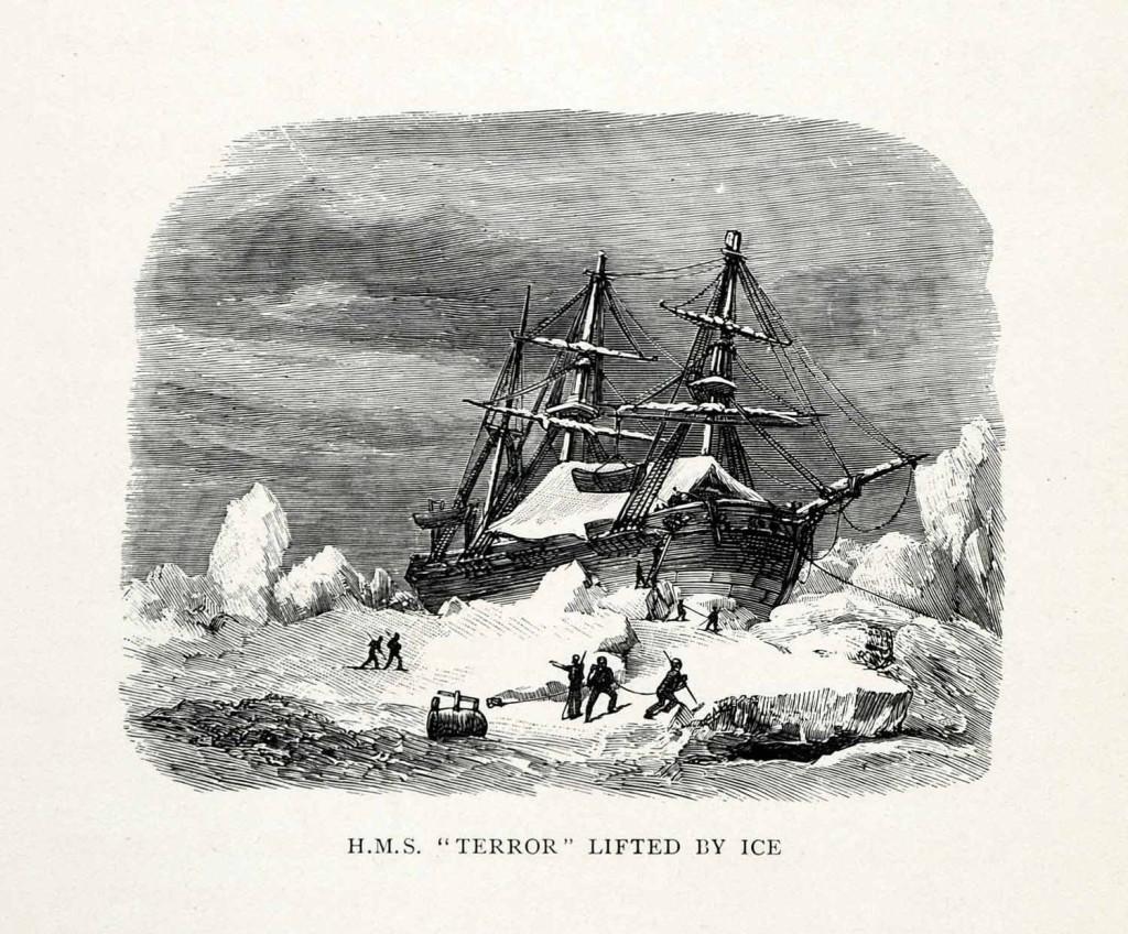 """HMS """"Terror"""" uwięziony w lodzie, ryc. z 1907 roku."""