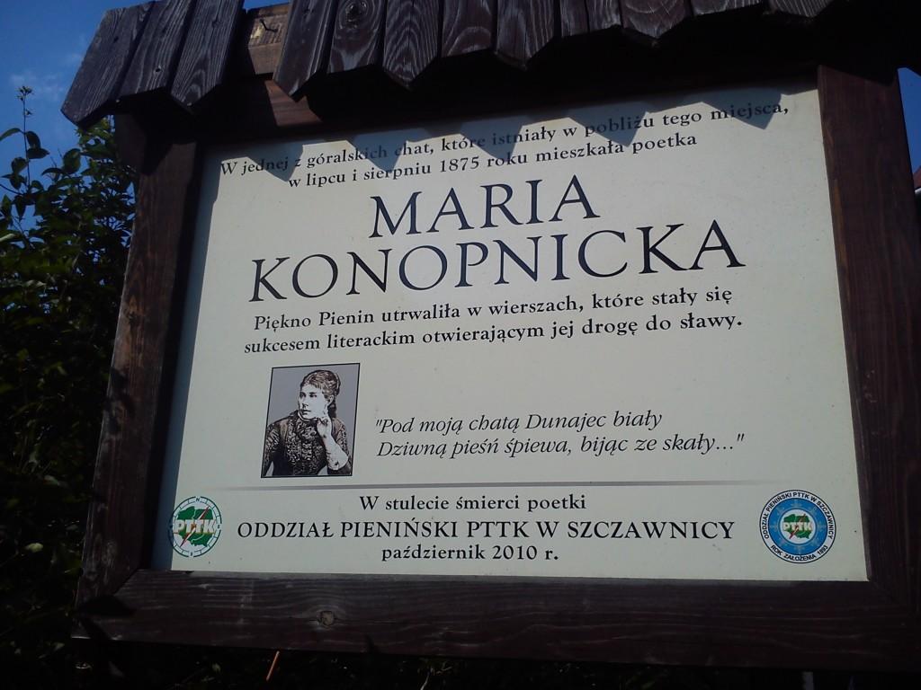 Tablica upamiętniająca wizytę Marii Konopnickiej.