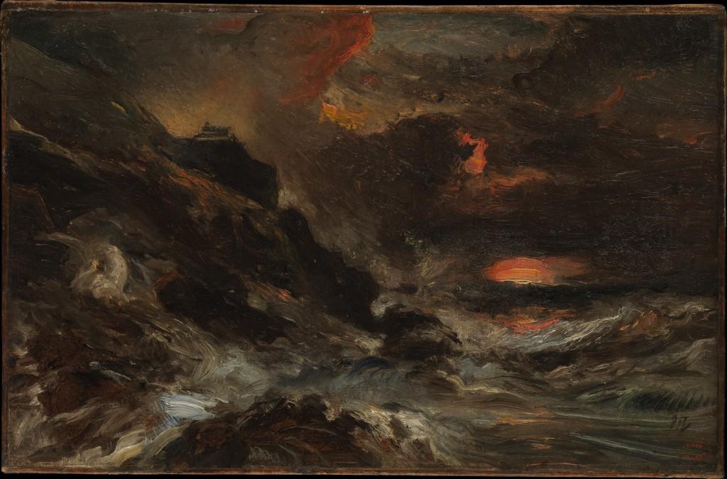 """""""Sztorm u wybrzeży Normandii"""", mal. Eugène Isabey, ok. 1850 roku."""
