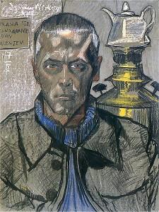 Witkacy, Autoportret z samowarem, 1917 rok (źródło).