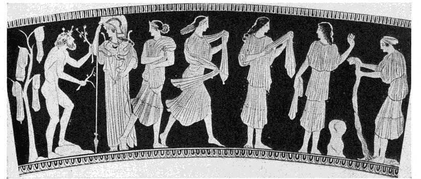 Odys i Nauzykaa, przedzieleni przez Atenę. Obok nich piorące dziewczęta. Z lewej, na drzewie oliwnym suszy się pranie, kobieta z prawej wyżyma szatę. Malowidło na wazie z V w. p.n.e.